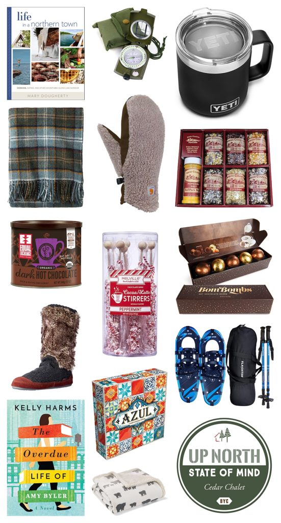 Collection of gifts you could give with a Bayfield cabin gift certificate this Christmas.